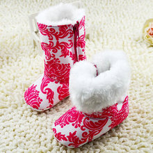 Fashion Warm Winter Baby Girls Ankle Snow Boots Infant Shoes Red Antiskid Shoes First Walkers(China (Mainland))