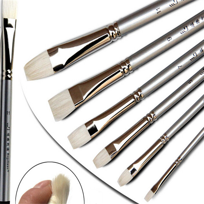 6pcs/set Wool Flat Head Watercolor Paint Brush Art Supplies Oil Painting Brush Pen Acrylic Gouache Drawing Set Brushes(China (Mainland))