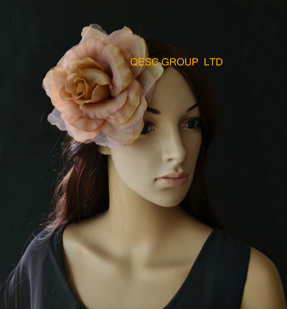 Heather pink 15cm silk flower hair accessory for fascinator church hat.with brooch pin hair clip.(China (Mainland))