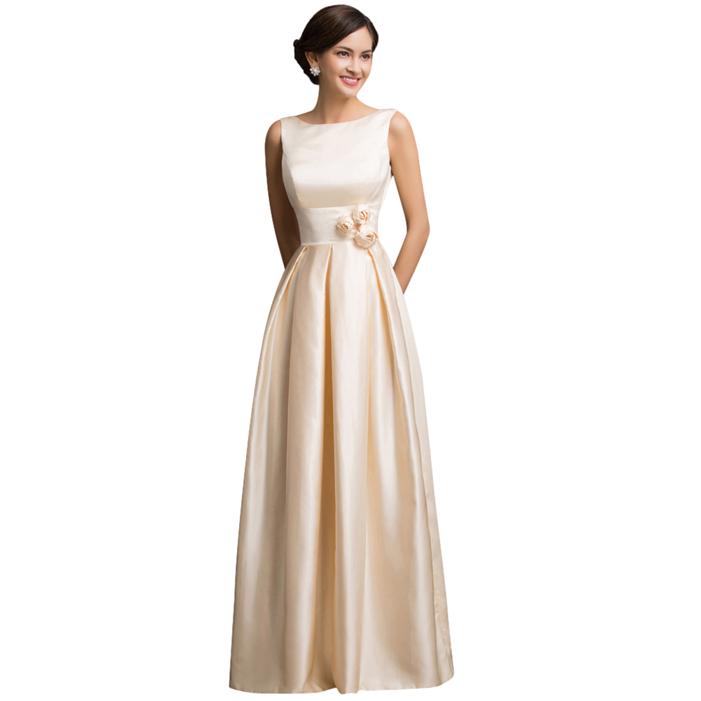 Grace karin sexy satin apricot elegant long formal evening for How to dress for an evening wedding