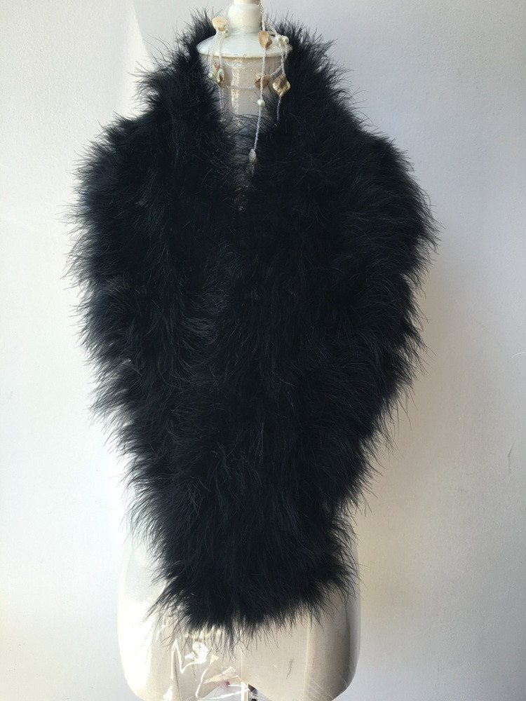 fashion sexy real Ostrich fur collar big size wool natural turkey fur scarf for winter coat feather fur neck warmer black white
