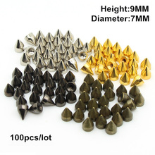 7*9.5mm Rivets mix color Metal studs and spikes for Clothings 100pcs/bag silver,gold,black,Bronze(China (Mainland))