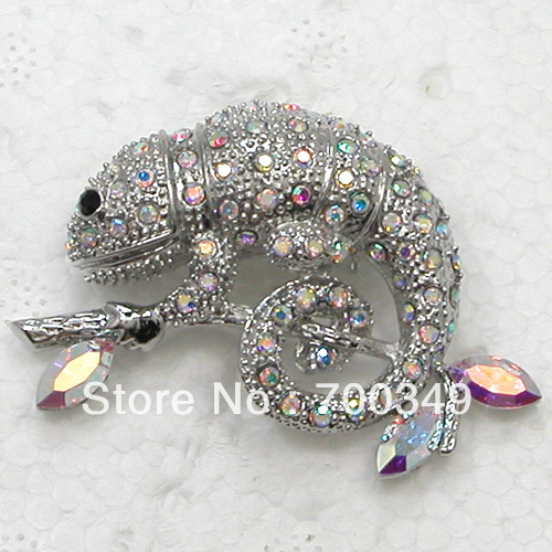 Wholesale 12piece/lot Clear AB colour Crystal Chameleon Reptile Pin Brooch Brooches Jewelry C658 A<br><br>Aliexpress