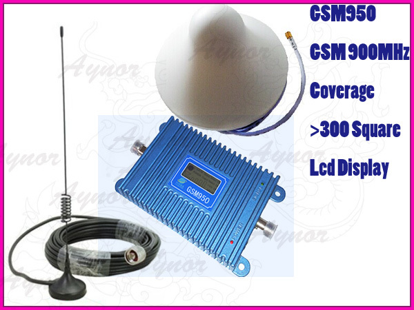 LCD display new model GSM950 900Mhz mobile phone signal booster repeater amplifier with car antena Ceiling antenna(3m cable)(China (Mainland))