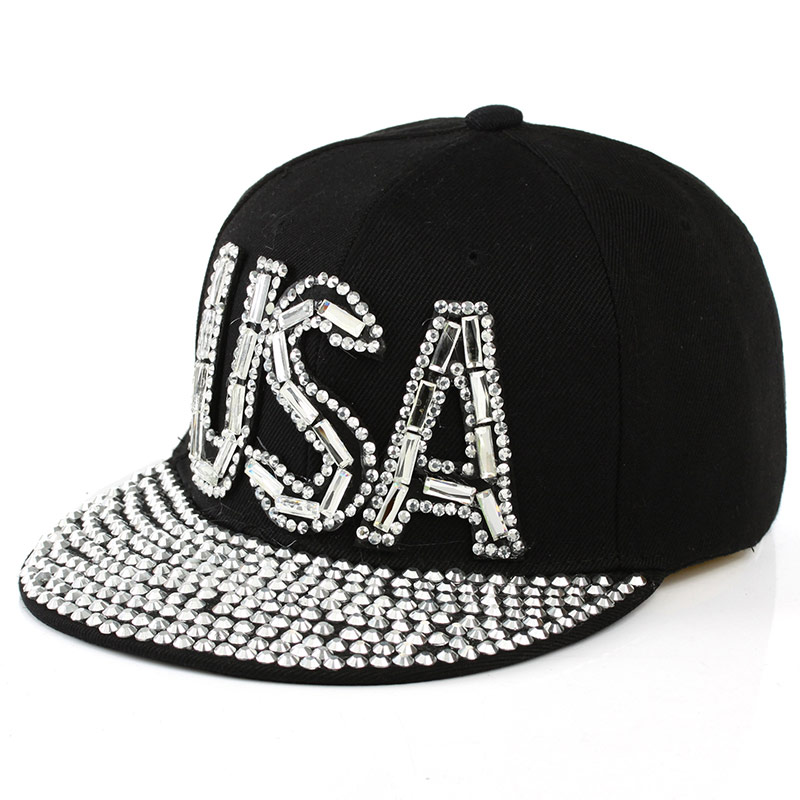 hot wholesale good qaulity colorful diamond beads rhinestone USA letter active girl women novelty snapback cap hat baseball caps(China (Mainland))