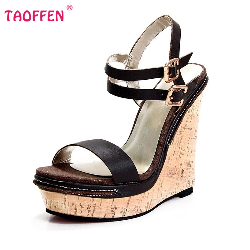 High-quality Customizable Women Sandals 2016 Sexy Platform Wedges Sandals Sheepskin Shoes Woman Footwear Size 35-46 B057(China (Mainland))