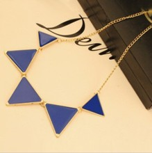 Free shipping 10 2015 New Fashion Punk Pink Green Blue Oil Triangle Multicolour Necklace Jewelry N085