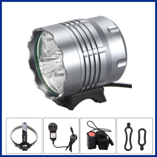 8000Lm 5xCREE XM-L T6 LED Rechargeable Front Bicycle Light bike lamp Headlight with 8800mah battery pack and headband(China (Mainland))