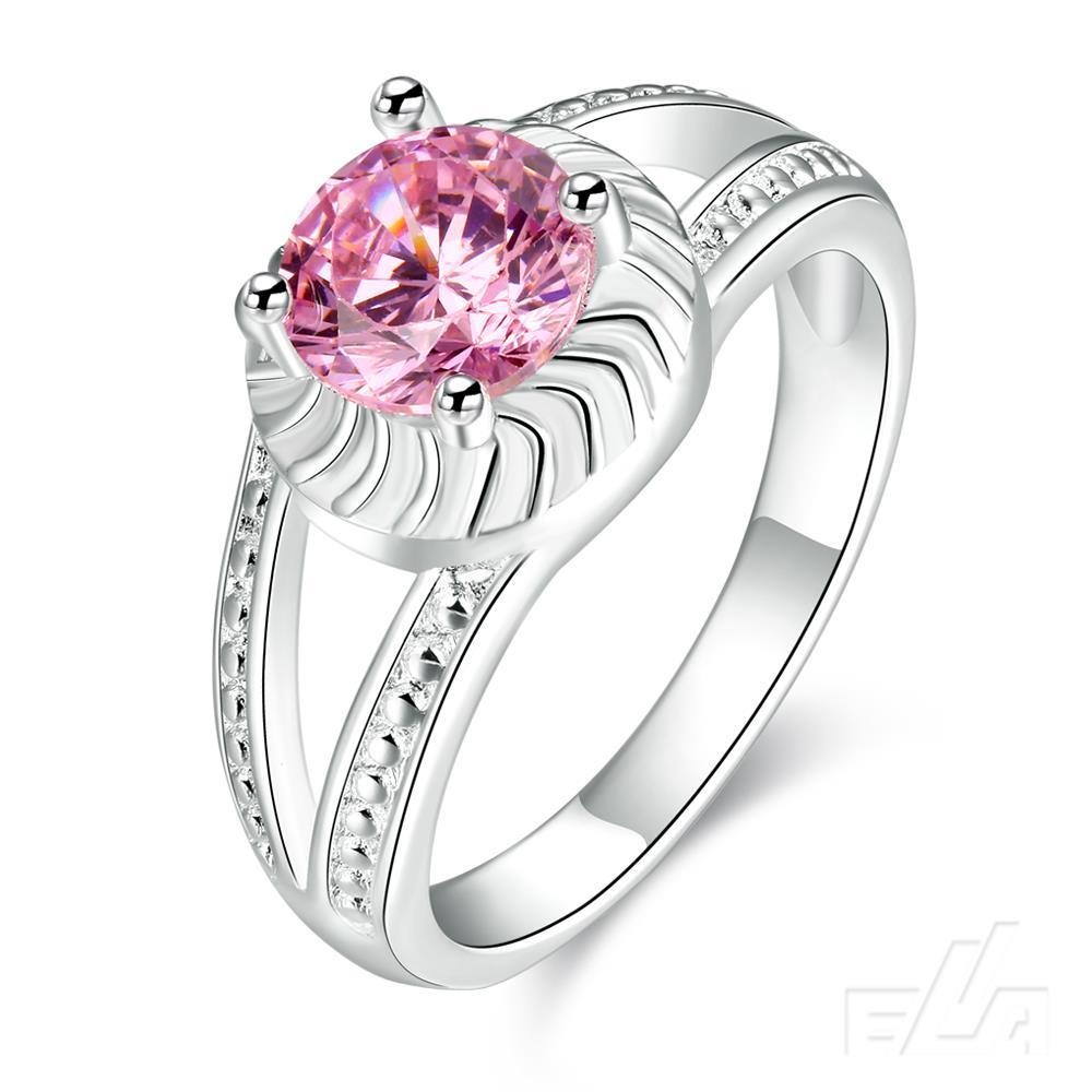 Sell well 2016 new fashion love ring jewelry pink Cubic Zirconia silver plated engagement rings for women(China (Mainland))