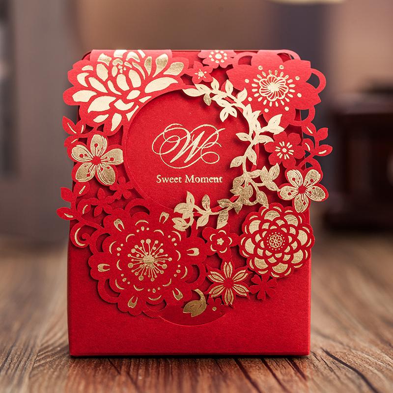 50pcs Laser Cut Wedding Favor Boxes Wedding Candy Box Wedding Favors And Gifts Red Favor Box Casamento(China (Mainland))