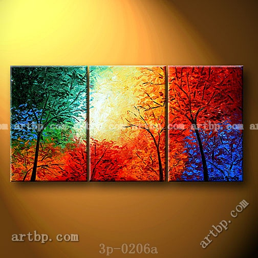 Heavenly trees oil painting on canvas modern wall mural 3 for Average cost of mural painting