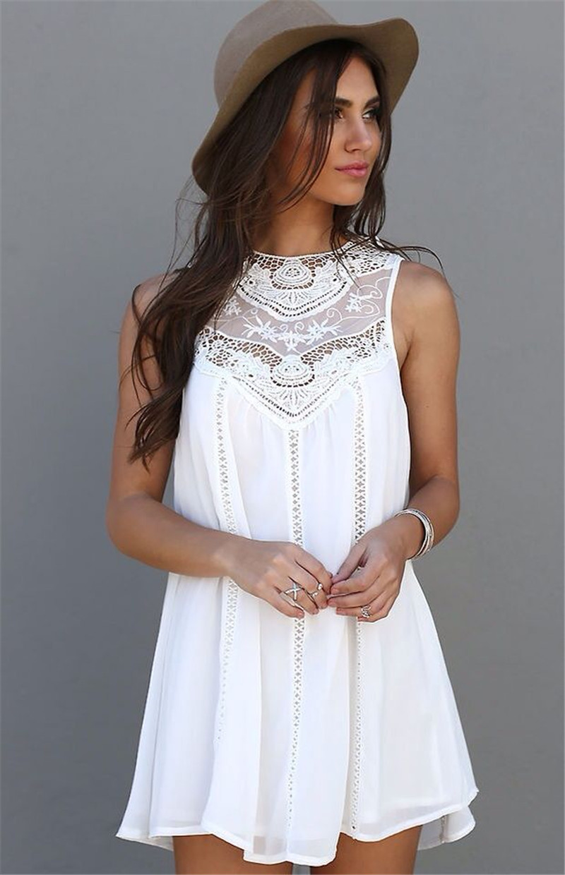 New Arrived Fashion Summer Women Dresses Solid White Lace Embroidery Sleeveless Ladies Dresses Mini Causal Femininas DressesОдежда и ак�е��уары<br><br><br>Aliexpress