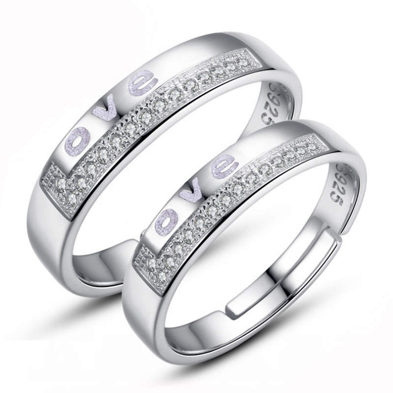 fashion rings for women 2015 925 silver ring Fashion Openings hearts Hearts and Arrows drilled flash love ring couple(China (Mainland))