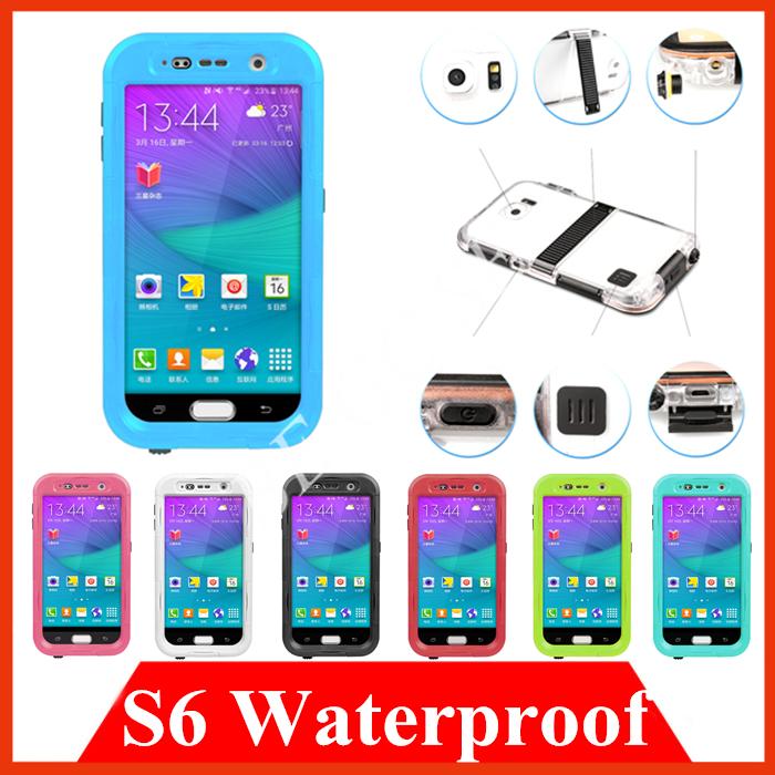 Здесь можно купить  Plastic kickstand Waterpfroof cover cases for Samsung Galaxy S6 G9200 Snowproof Shockproof skin Hard PC Soft TPU shell DHL Free  Телефоны и Телекоммуникации