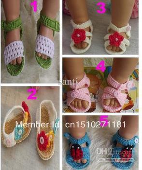 Summer Newborn Baby Crochet handmade Knitting Booties cotton yarn sandals shoes Toddler