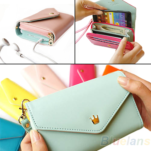 2013 New Womens Multifunctional Envelope Wallet Coin Purse Phone Case for iPhone 5/4S Galaxy S2/S3 1HD3(China (Mainland))