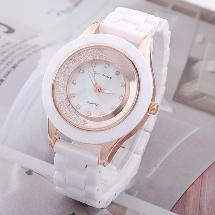 Free shipping The new popular 2013 seven princess ceramic watch cheap bracelet watch leather watch