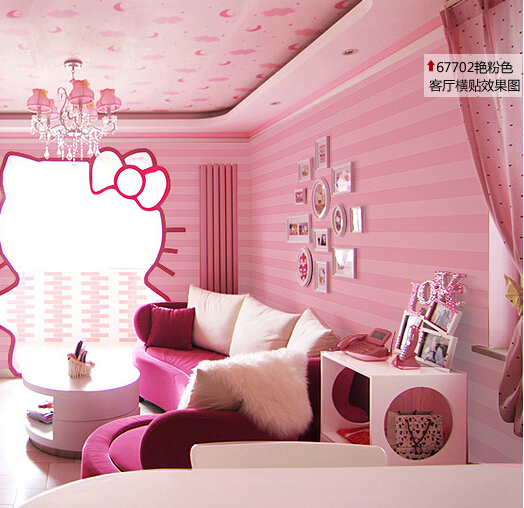 Buy modern romantic striped wallpaper bedroom girls room wallpaper for walls - Pink and purple bedrooms for girls ...