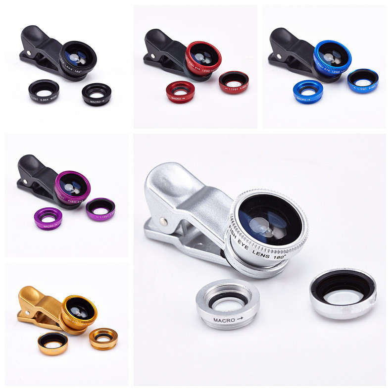 3 in 1 fish eye macro wide angle mobile phone lenses camera fit universal clip for iphone 5 6 for samsung galaxy s5 for lg sony(China (Mainland))