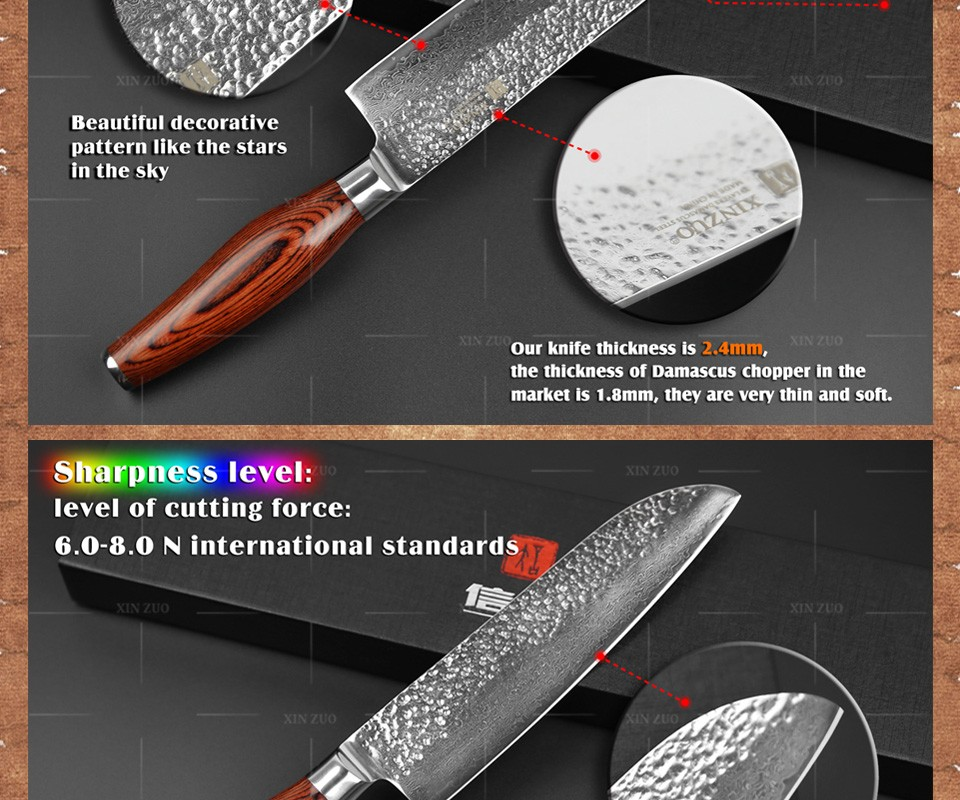 "Buy 2016 New 73 layers 7"" santoku knife Japan Damascus steel kitchen knife japanese chef knife with Color wood handle free shipping cheap"