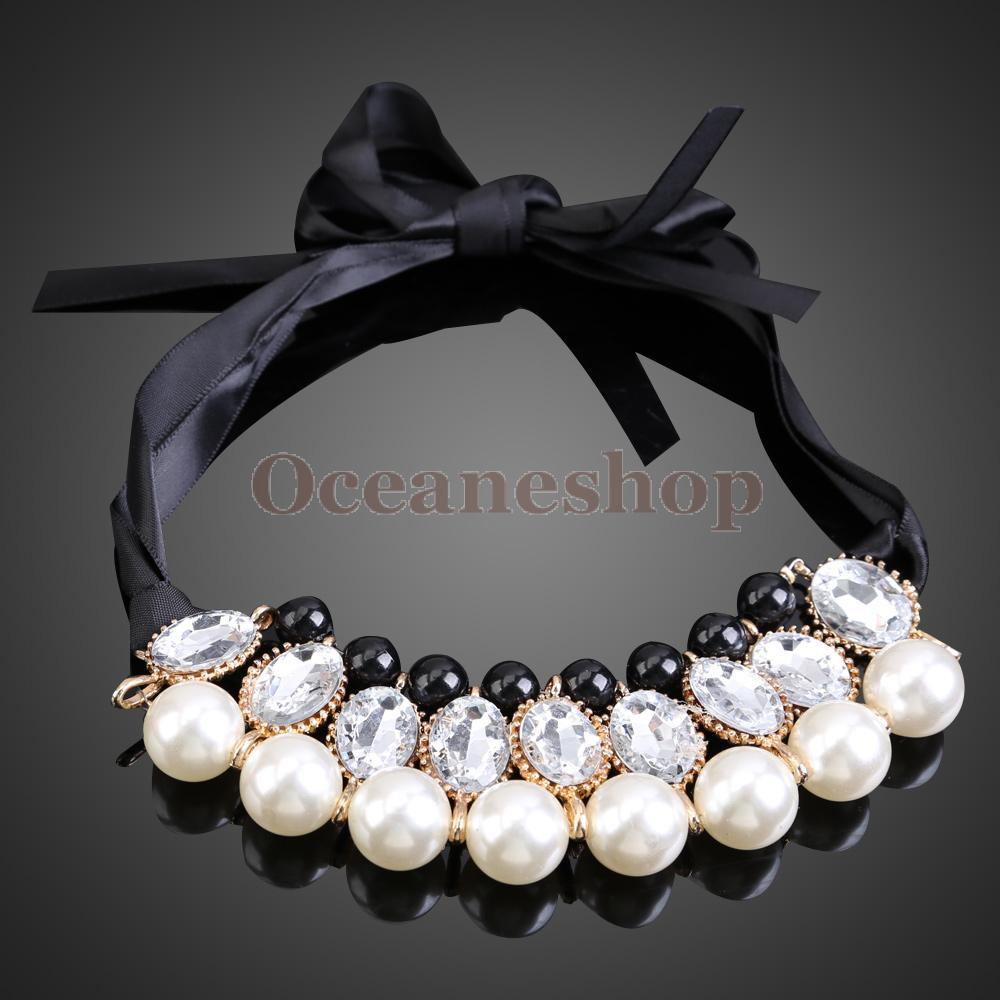 OCEA Korean Style Sweet White Pearls Jewlery Detachable Collar Chain Necklace