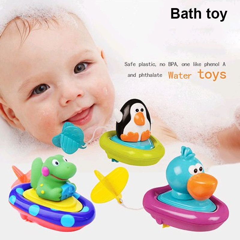 Brand Baby bath toys children play in the water swimming boat ship essential Clockwork rope toys wheel type dabbling toy sassy(China (Mainland))