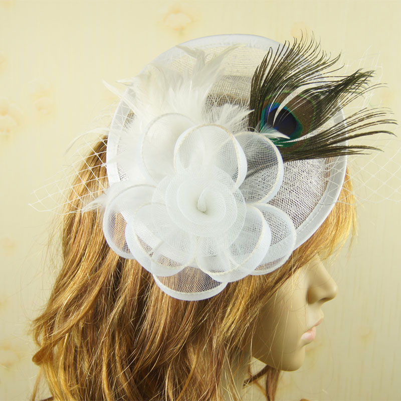 Ladies cocktail Peacock feather fascinator Elegant royal hat sinamay fascinator women feather hat wedding/party hair accessory(China (Mainland))