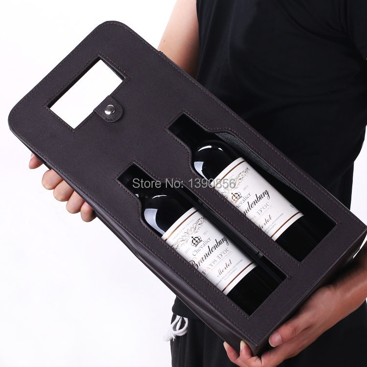 10pcs Free shipping High Quality genuine leather red wine bag tote 2 Bottles Leather Wine Carrier Wholesale wholesale(China (Mainland))