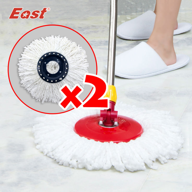 East 2pcs Microfiber Cloth Mop head Set Refill Spin magic mop cleaning Tools mop Accessories(China (Mainland))