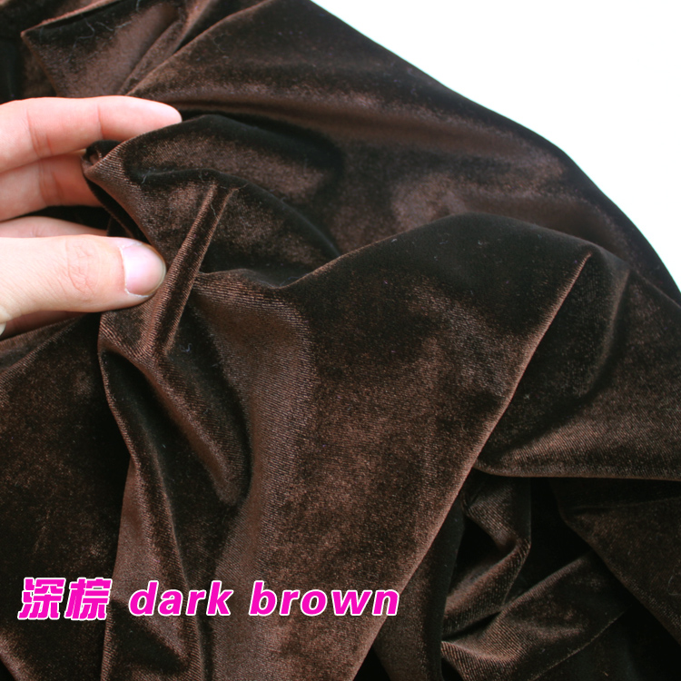 dark brown Silk velvet fabric, Velour fabric, Pleuche fabric, clothing fabric, evening wear, sports wear. Sold by the yard(China (Mainland))