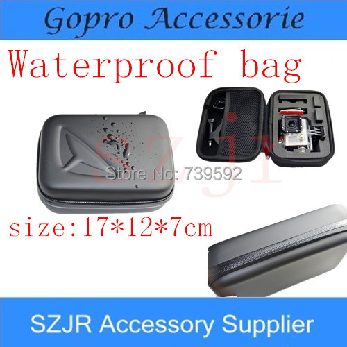 Free Shipping Gopro case hero3 waterproof bag For gopro hero 3 2 3+ Go pro eva case Waterproof carbon fiber bag(China (Mainland))