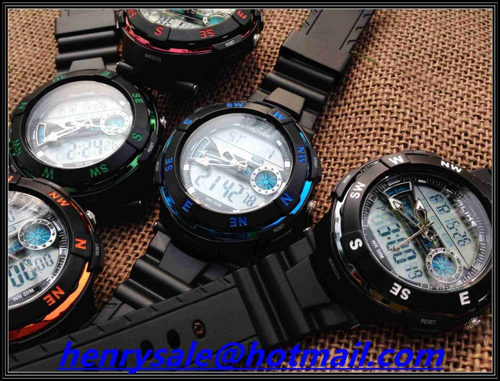 whole sale men water resistant sport led watch with dual time watch japan movement for man hiking digital watch free shipping<br><br>Aliexpress
