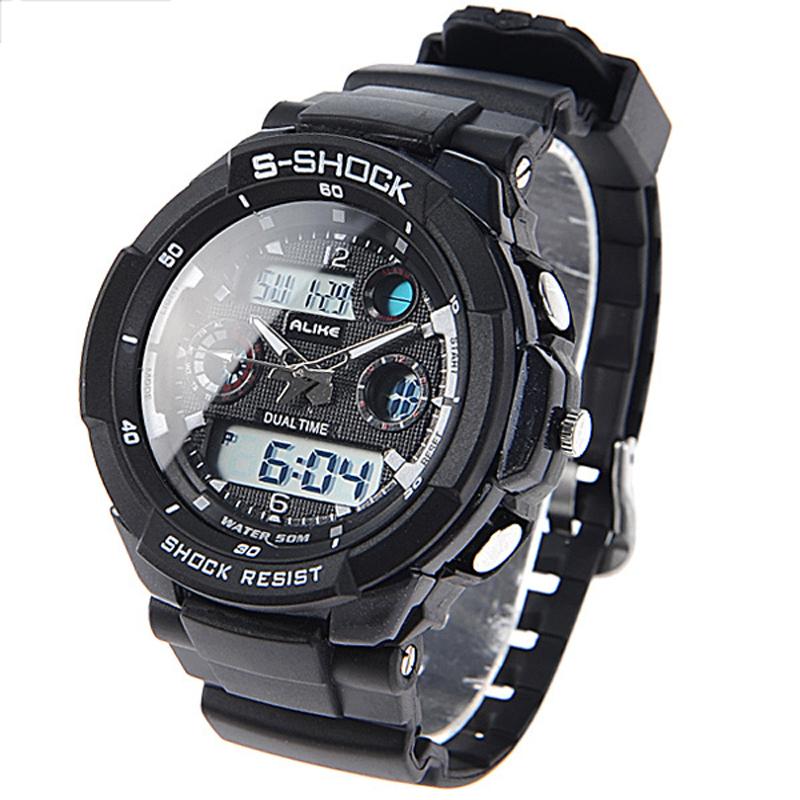 Dropship Спорт Мужчины Часы Люксовый Бренд СВЕТОДИОДНЫЕ Электронные Цифровые Часы 5ATM Водонепроницаемые Мужские Наручные Часы Спортивные Часы