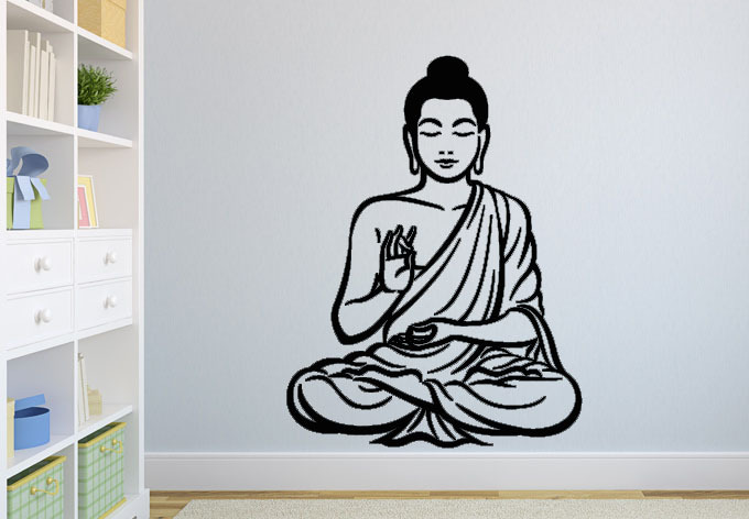 Meditating Buddha Decal DIY Removable Art Wall Sticker Mural 3D Design House Decoration For Living Room(China (Mainland))
