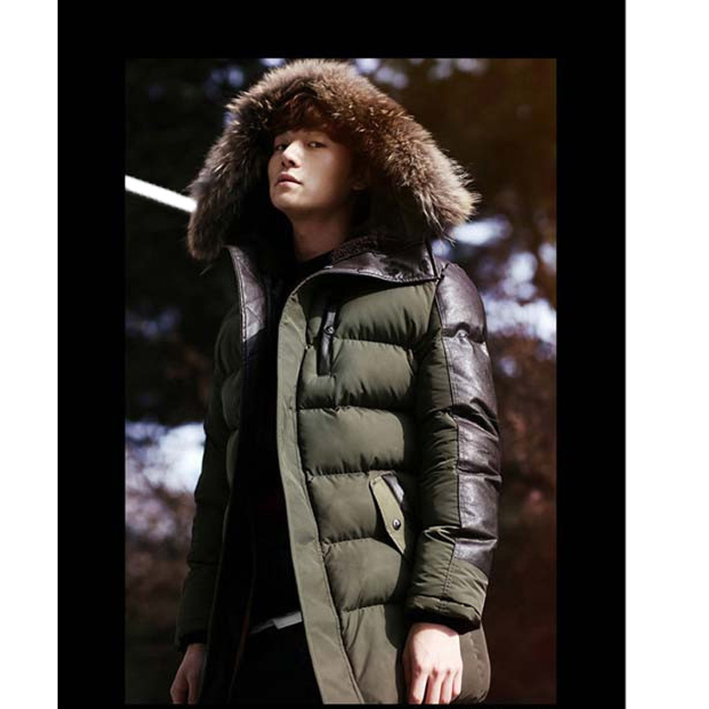 2015 Men's Parkas Jacket Winter Cotton Coats Mens Thickened Long Wadded Jacket Man Casual Fur Collar Warm Cotton Padded Jackets