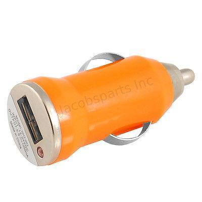 (5-Pack) Mini Universal USB Car Charger Adapter Bullet, 5V 1A, Orange(China (Mainland))