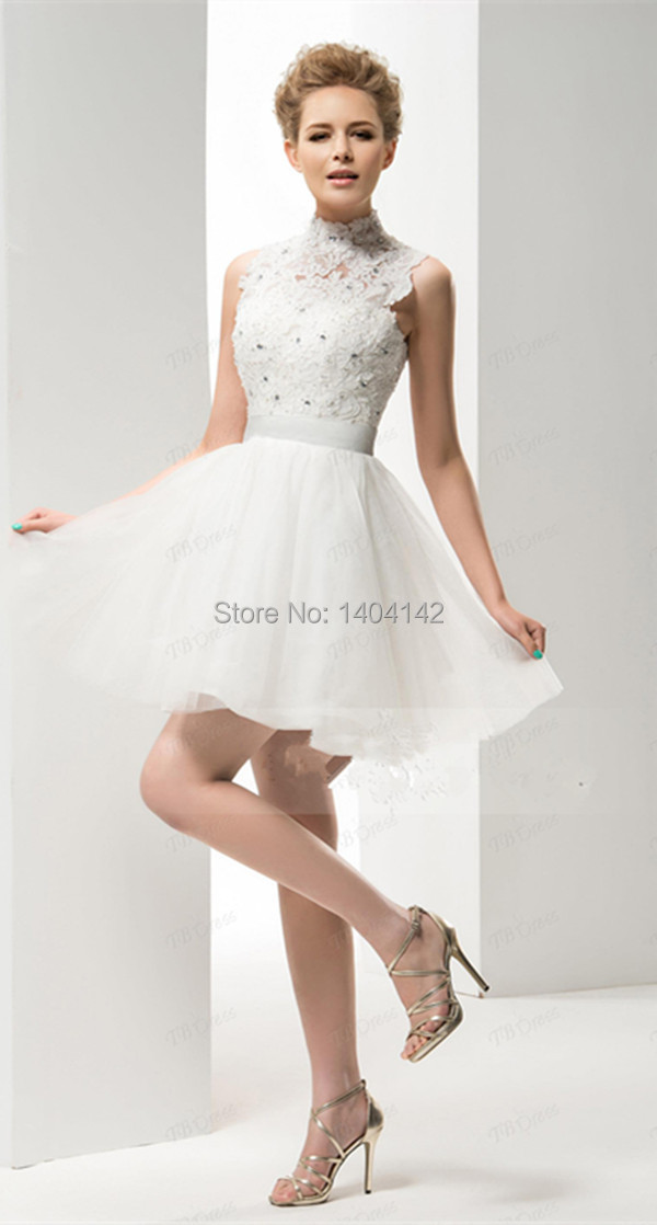 2015 cute white mini short wedding dress beaded high for Cute short white wedding dresses