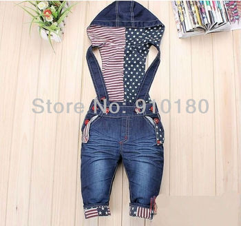 Free shipping 3pcs/lot baby suspender overalls girls boys long trousers jeans denim jumpsuit