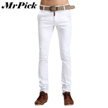 Men Jeans 2015 New Arrival Spring Summer Pencil Pants Candy Solid Color Fashion Casual Slim Denim Pants E1475(China (Mainland))