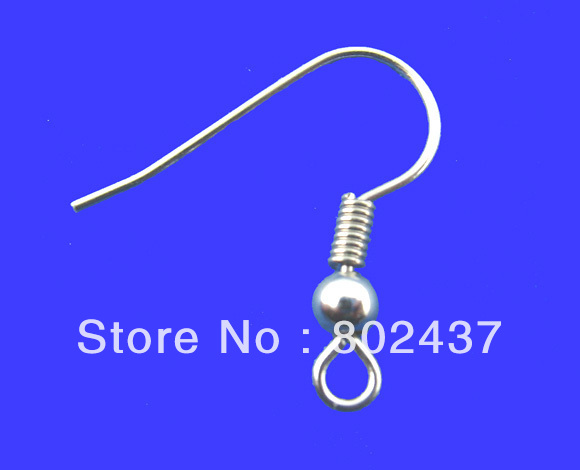 Free Shipping! 200PCs Silver Tone Ear Wire Hook With Spring and Ball 18*19mm (B00274)(China (Mainland))