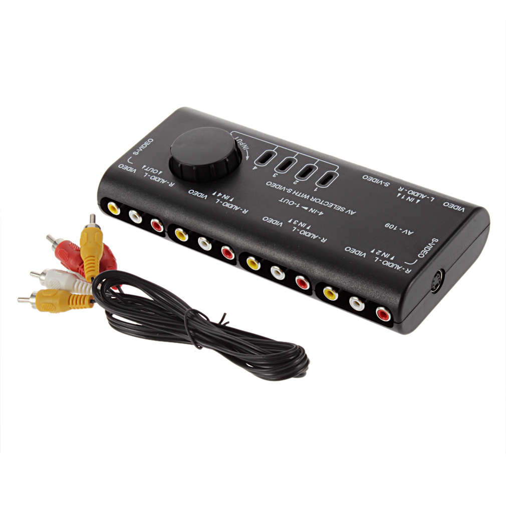 High Quality 1Set 4 in 1 AV Audio Video Signal Switcher Splitter Selector 4 Way Selector(China (Mainland))