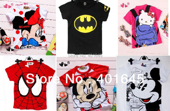 2014 new item boy and girl cartoon t-shirt kids fashion tee many designs for selection