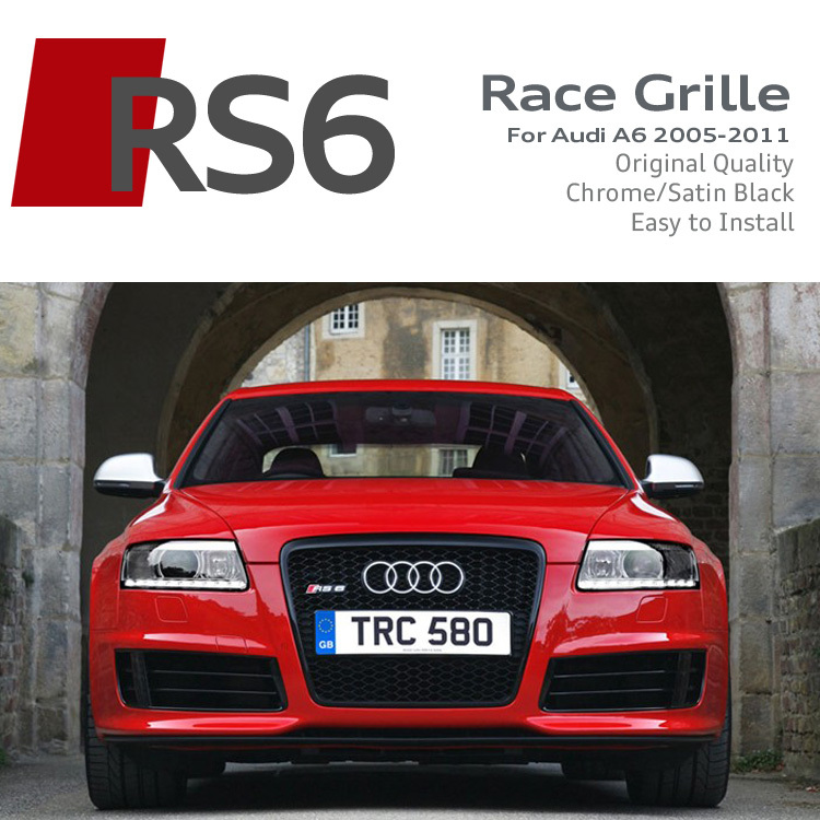 Satin Black/Chrome Frame RS6 Front Grille ABS Car Bumper Grille RS Sline S line Grills Race Grilles For Audi A6L 2005-2011(China (Mainland))
