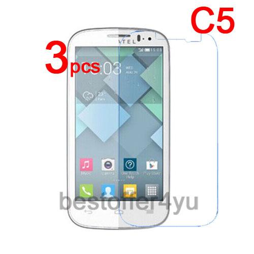 3 шт./лот царапаться ясно C5 защитная пленка для Alcatel One Touch Pop C5 + ткань для очистки