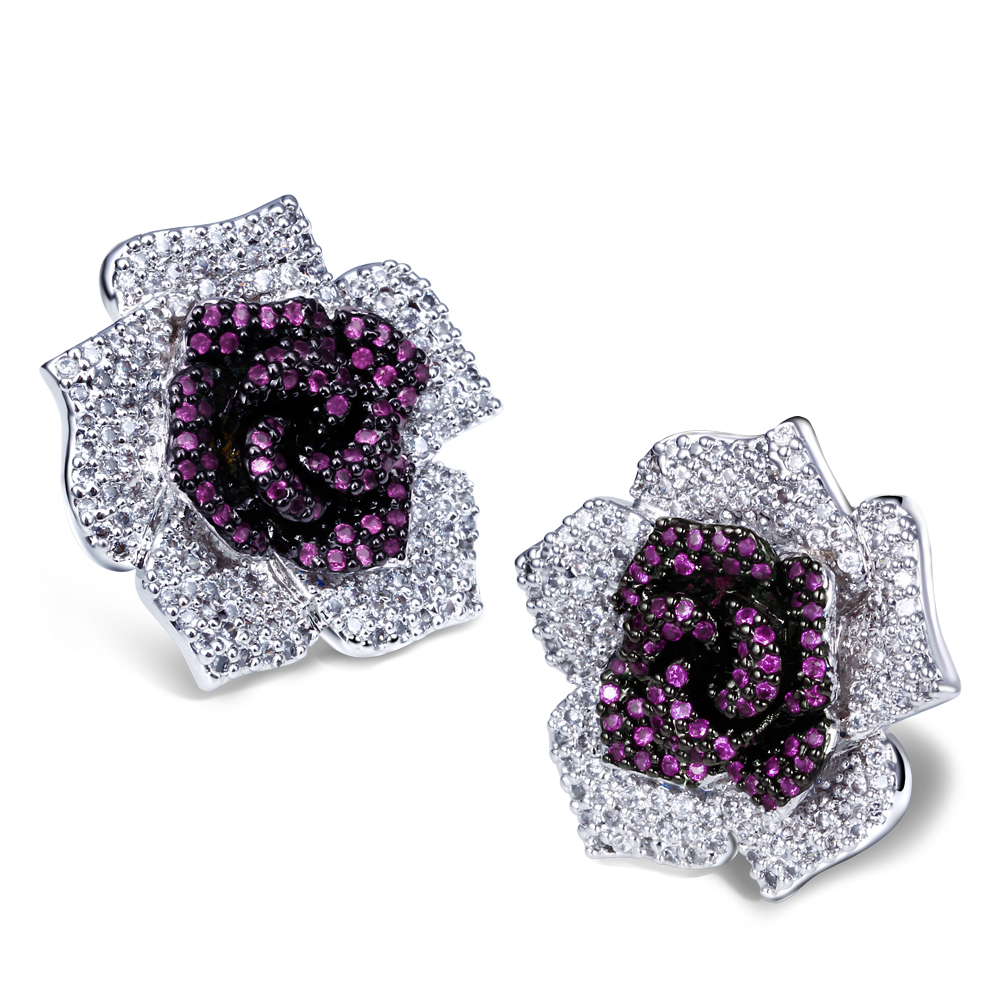 Ruby sapphire cubic zirconia crystal earring rose flower jewelry colorful summer design wedding flowers bridal bouquets(China (Mainland))