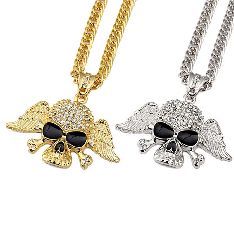 Gold Silver Color Crystal Skull Skeleton Necklace & Pendant Hip-Hop Jewelry Cool Skull With Wing Punk Long Men Necklace For Men(China (Mainland))