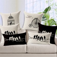 Vintage Bird Black And White Pillow Covers