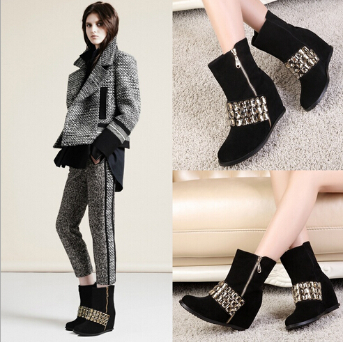 New 2015 Fashion Womens Ankle Boots Faux Suede Rhinestone Women Cowboy Boots Casual Ladies Boots Shoes Wholesales#SJJ1997(China (Mainland))