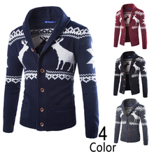 New Fashion European Style Cashmere Sweater Men Winter Cardigan Single Breasted Casual Slim Mens Sweaters Deer Pattern Knitwear(China (Mainland))
