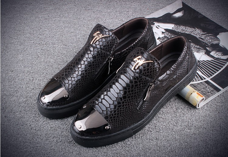 2016 Hot sale Fashion snake leather shoes zip slip-on leather shoes brand designer luxury casual shoes men loafers<br><br>Aliexpress